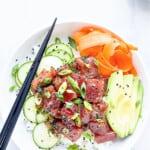 pinterest image for tuna poke bowl