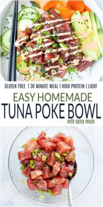 A Picture of an Assembled Tuna Bowl Over a Photo of the Tuna Marinating