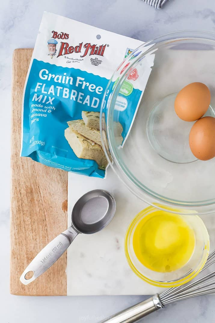 ingredients to make a grain free flatbread pizza