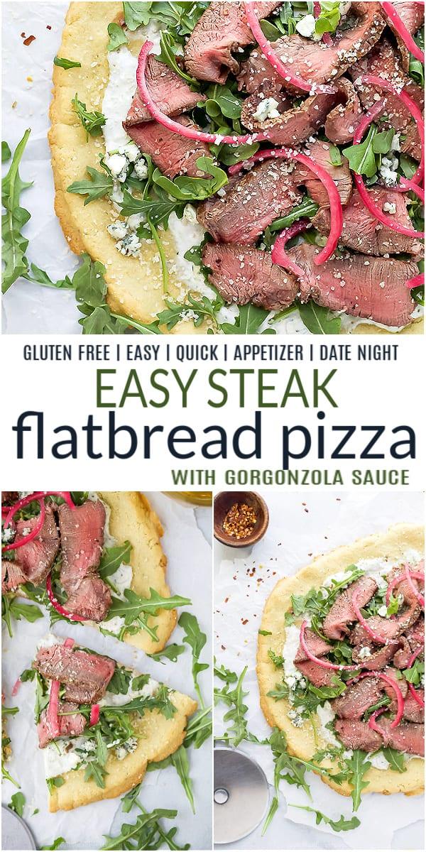 pinterest image for steak flatbread pizza