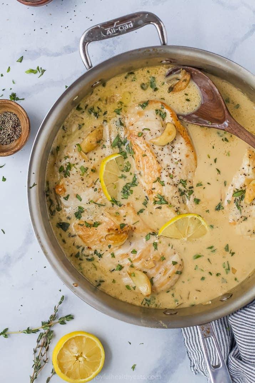 creamy garlic chicken in a pan
