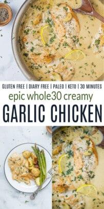 pinterst image for Whole30 Creamy Garlic Chicken Recipe