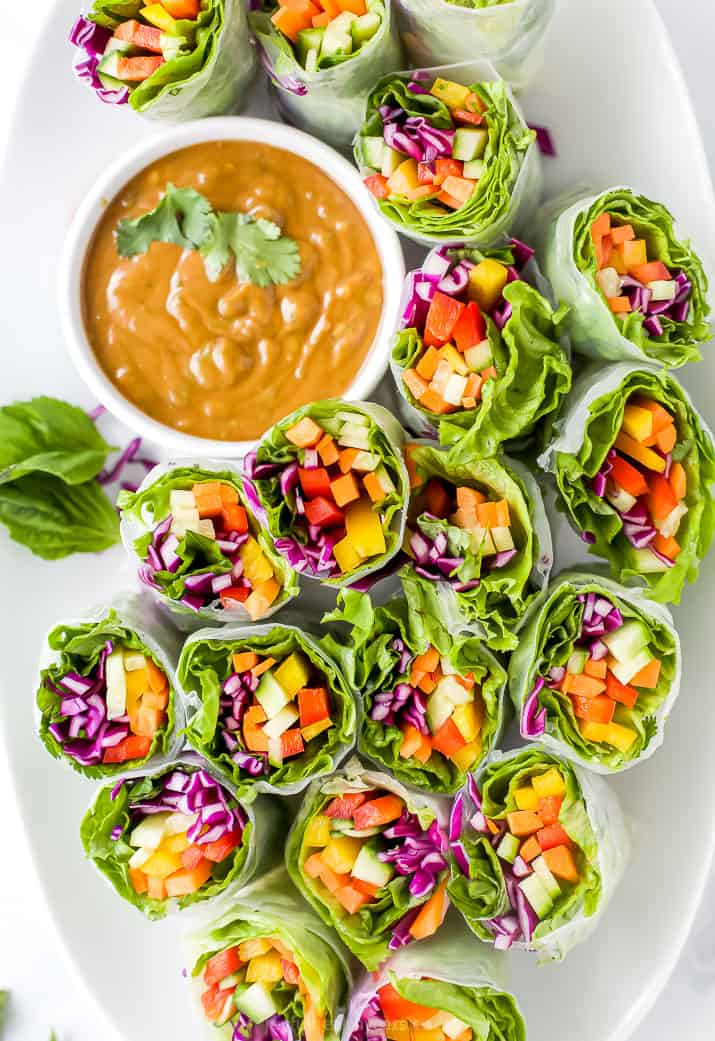 Veggie Rolls on a White Serving Plate with a Side of Peanut Dipping Sauce