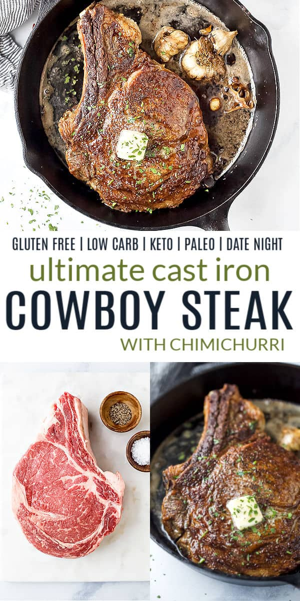 pinterest image for cast iron cowboy steak with chimichurri