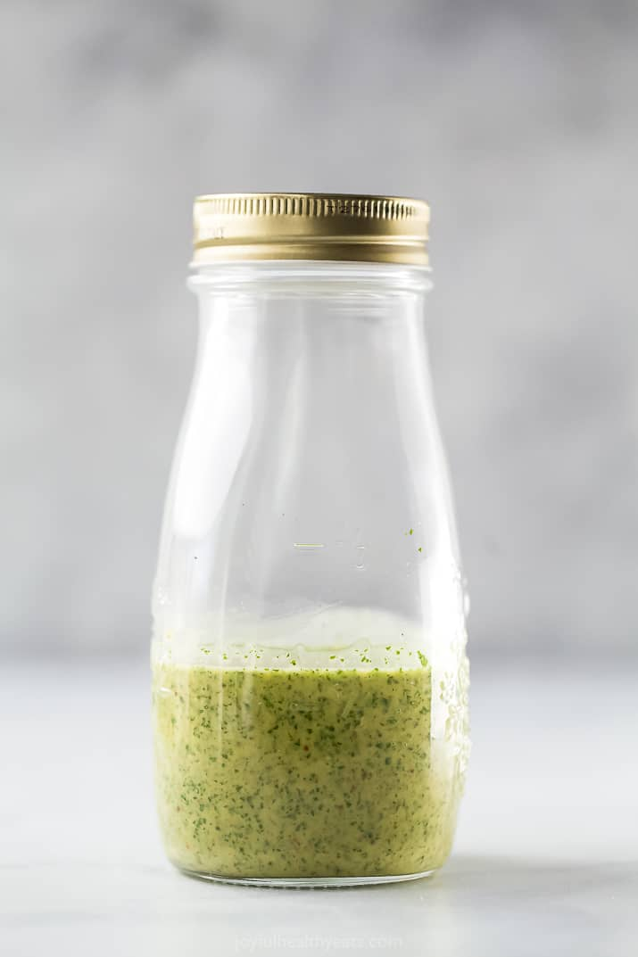 jar with cilantro lime dressing