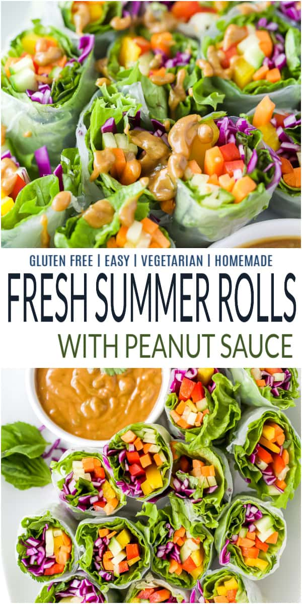 pinterest image for fresh summer rolls with peanut sauce