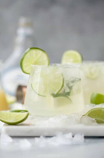 Skinny margarita in a glass with lime
