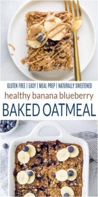 pinterest image for Healthy Banana Blueberry Baked Oatmeal