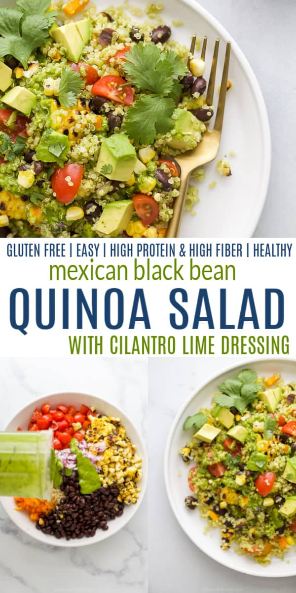 pinterest image for mexican black bean quinoa salad