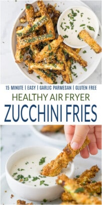 pinterest image for air fryer zucchini fries