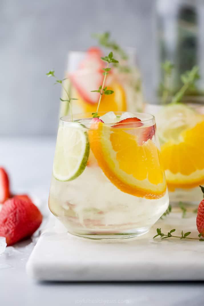 A glass of citrus wine spritzer