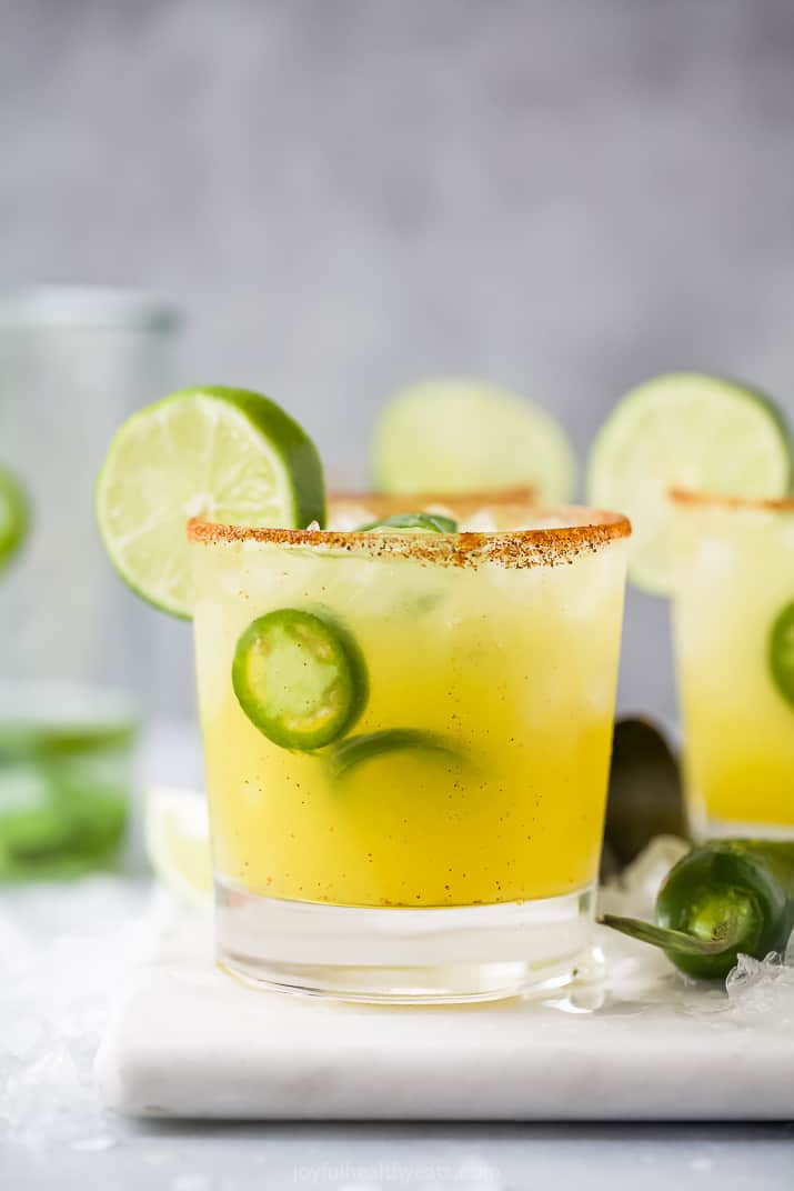 close up of spicy margarita recipe in a glass