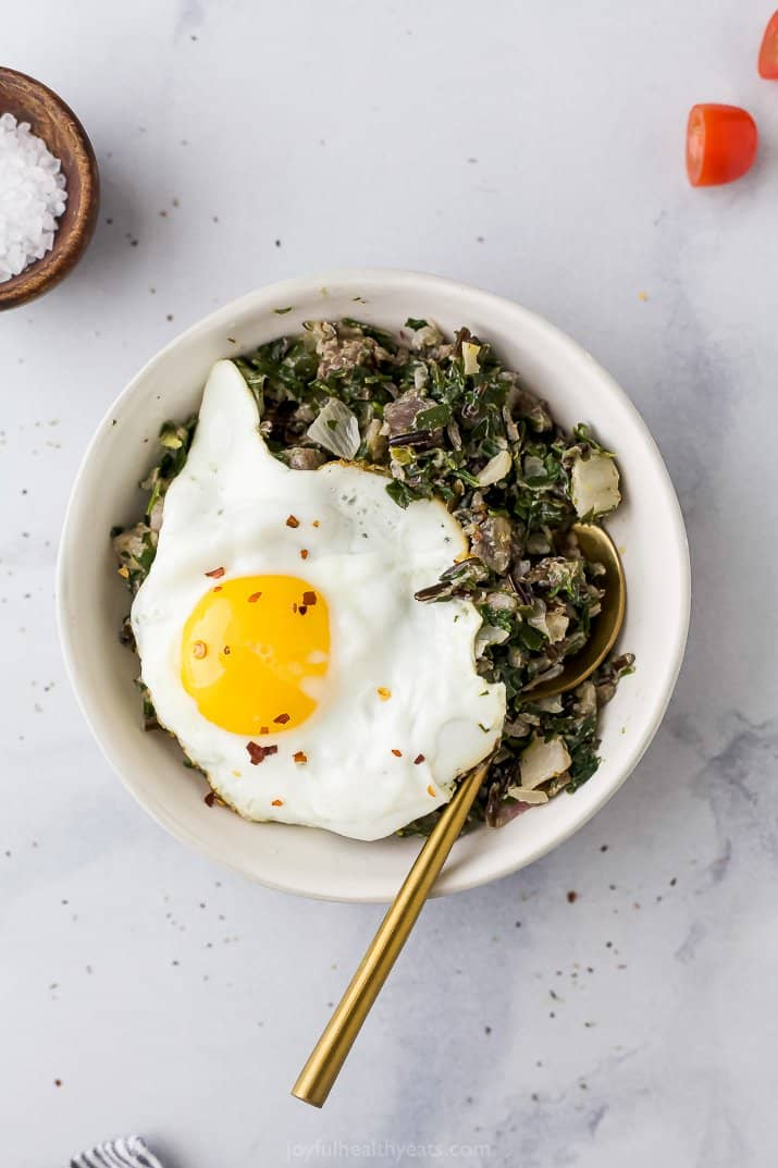 beet and wild rice harvest bowl with an egg