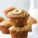 pinterest image for banana oat muffins