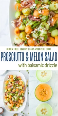 pinterest image for prosciutto and melon salad