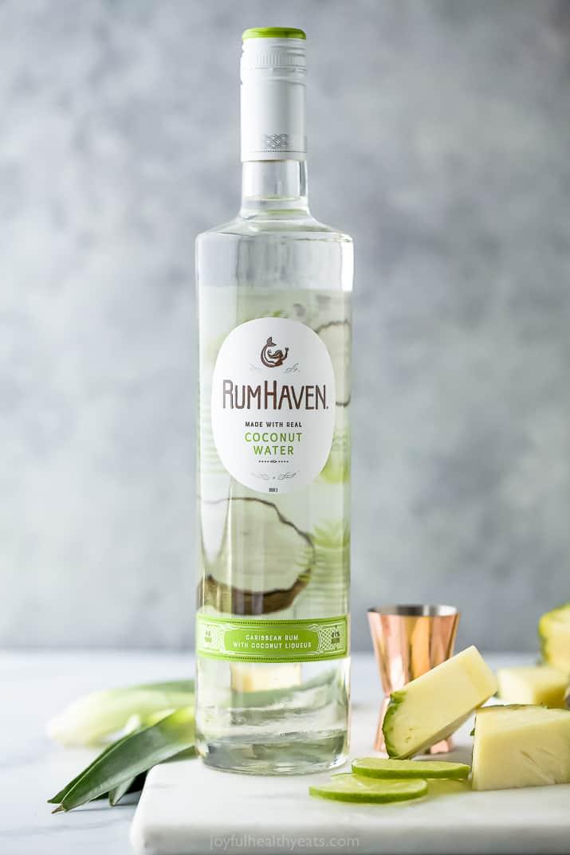 bottle of coconut rum