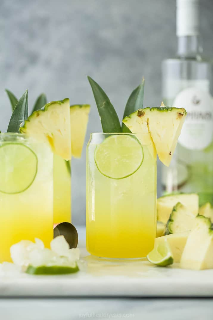 glass with refreshing pina colada spritzer