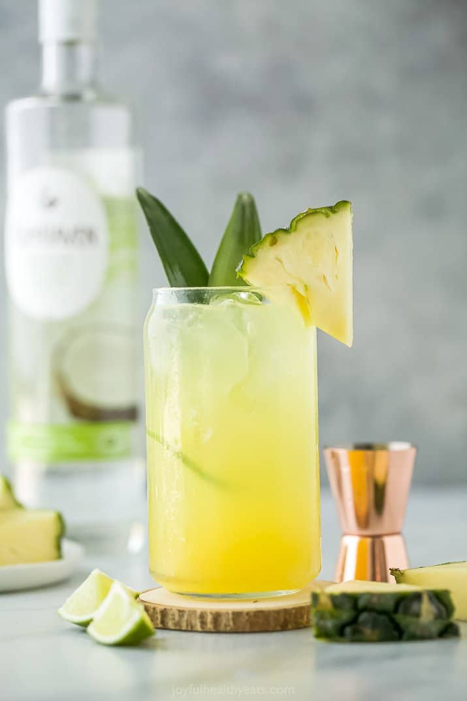 pina colada spritzer in a glass