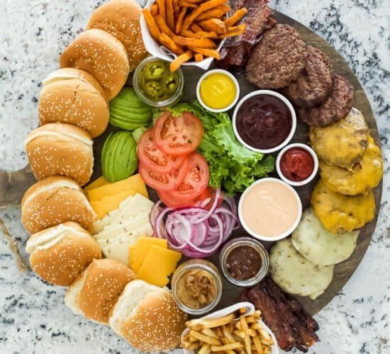 burger board filled with toppings
