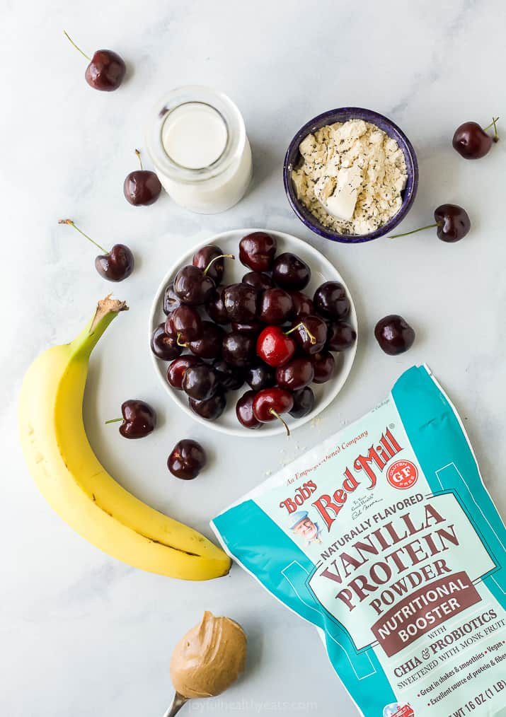 ingredients for cherry almond smoothie bowl