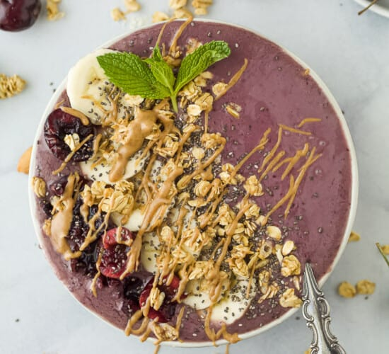 cherry almond smoothie bowl with toppings