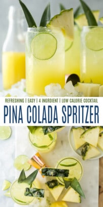 pinterest image for pina colada spritzer