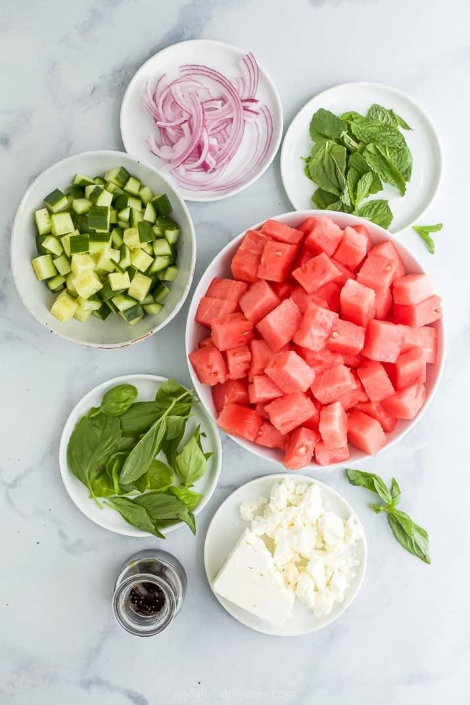 ingredients for watermelon feta salad