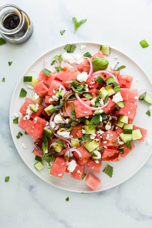 plate with watermelon feta basil salad