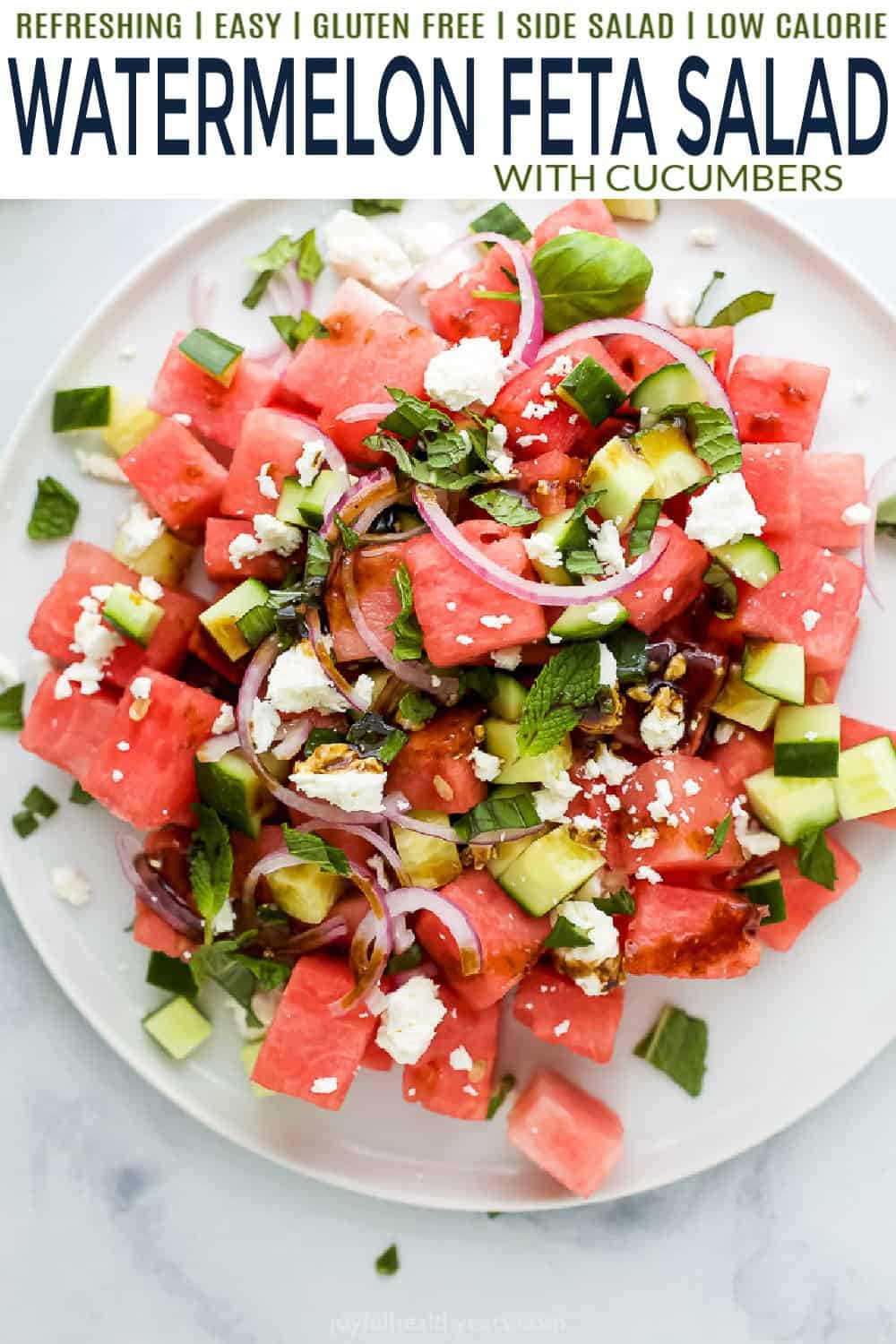 pinterest image for Refreshing Watermelon Feta Salad with Cucumber
