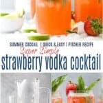 pinterest image for strawberry vodka cocktail