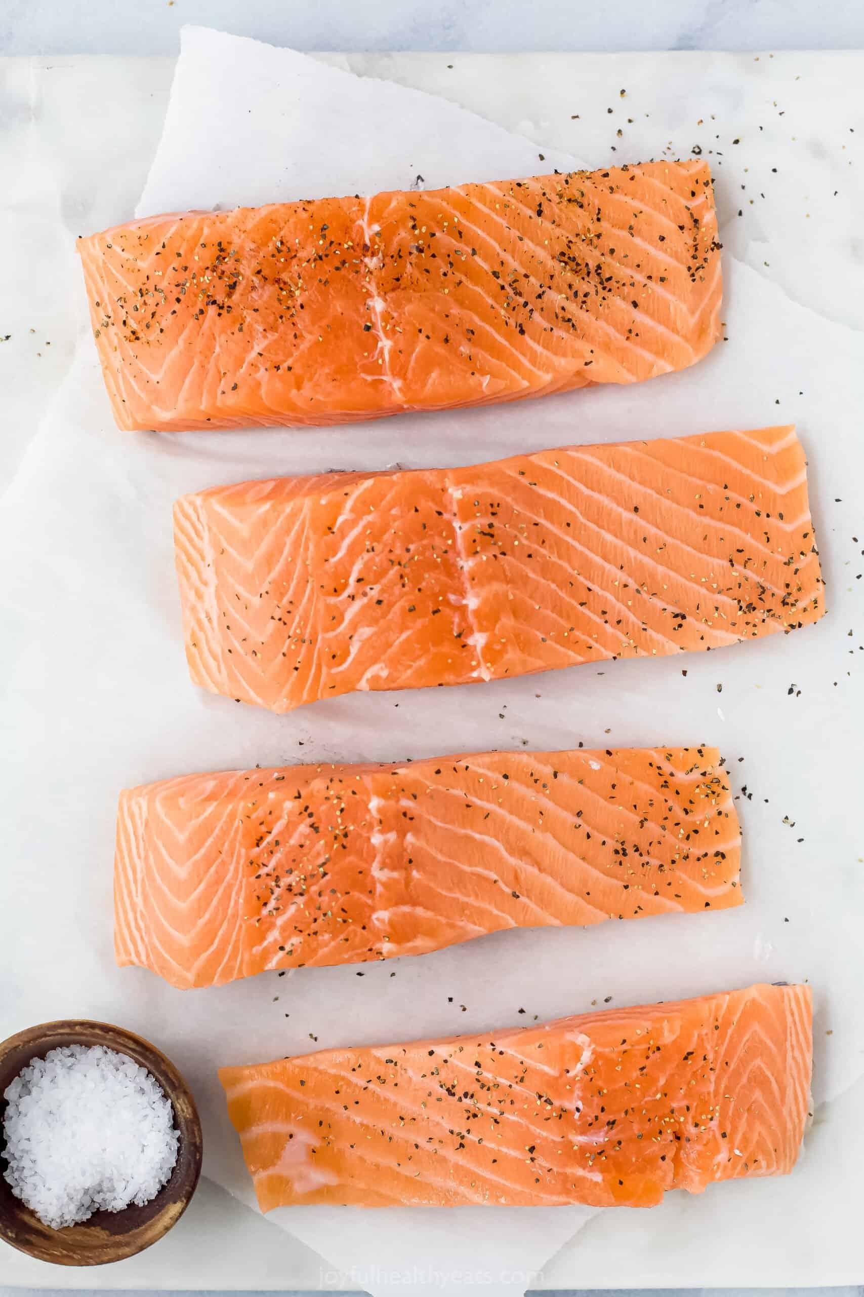 raw seasoned salmon filets