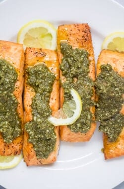 close up of air fryer pesto salmon
