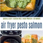 pinterest image for air fryer pesto salmon