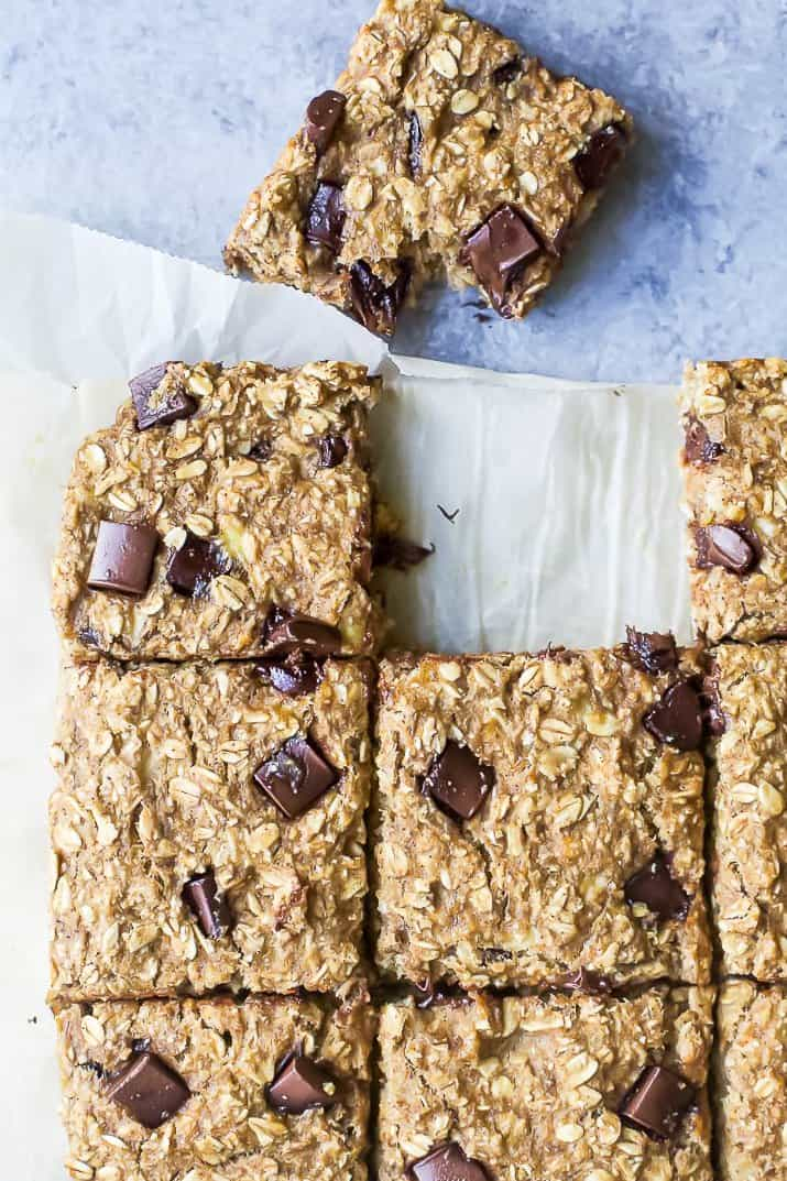 banana bread chocolate chip oatmeal bars o a parchment paper