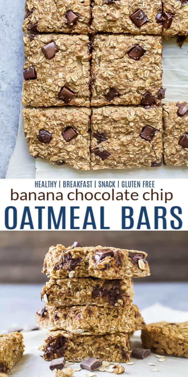 pinterest image for baked banana chocolate chip oatmeal bars