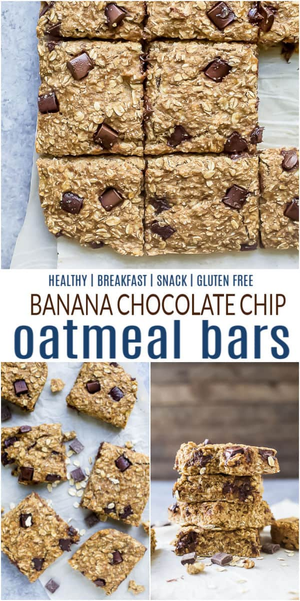 pinterest image for baked chocolate chip oatmeal bars