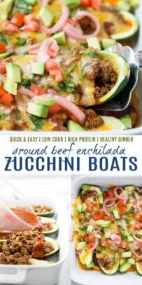pinterest image for ground beef enchilada zucchini boats
