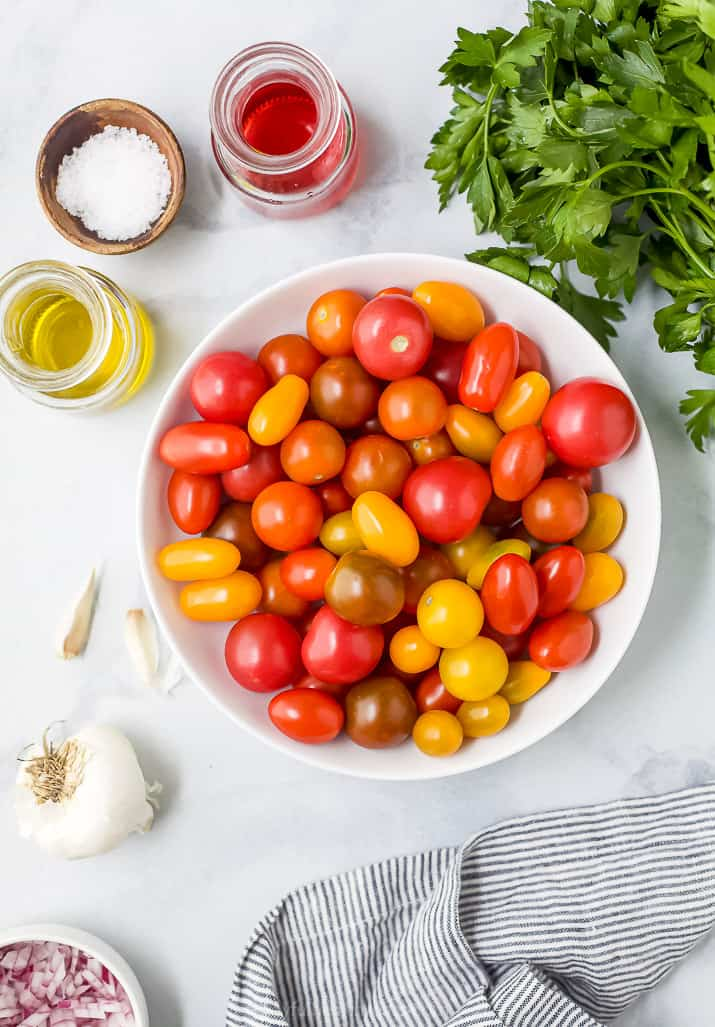 ingredients for marinated tomato salad