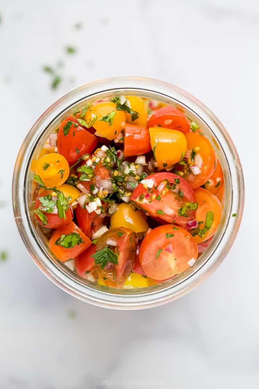 marinated tomato salad in a jar