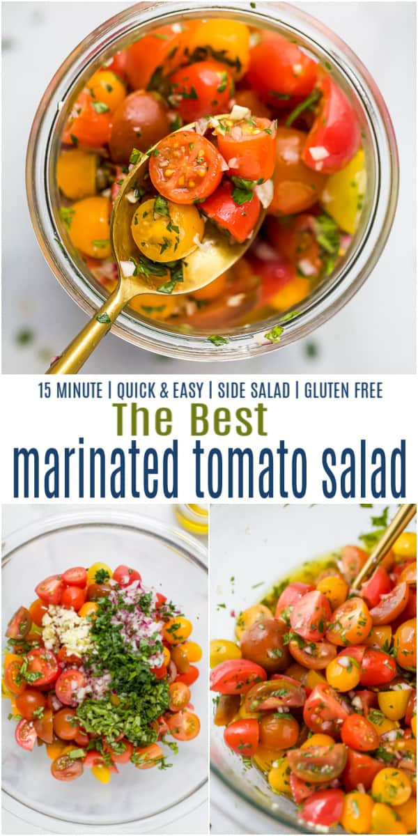 pinterest image for marinated tomato salad