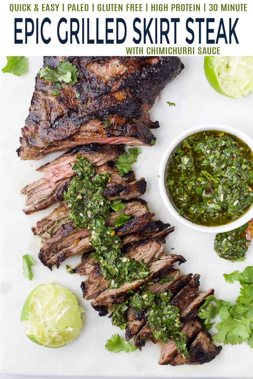 pinterest image for skirt steak with chimichurri sauce