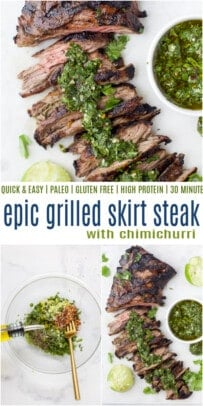 pinterest image for grilled skirt steak with chimichurri