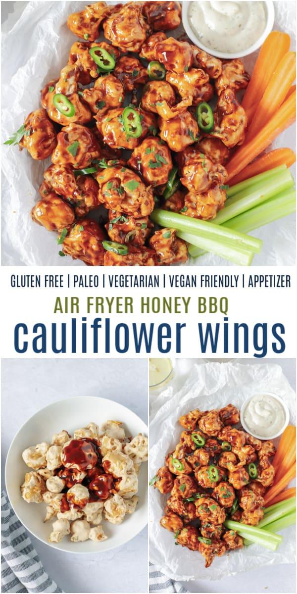 pinterest image for honey bbq cauliflower wings