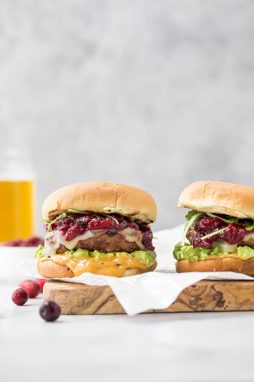 avocado turkey burger topped with cranberry chutney