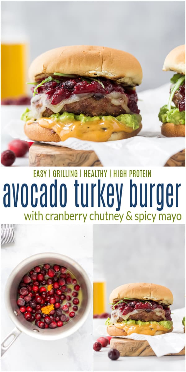 pinterest image for avocado turkey burger with cranberry chutney