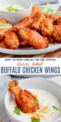 pinterest image for baked buffalo chicken wings