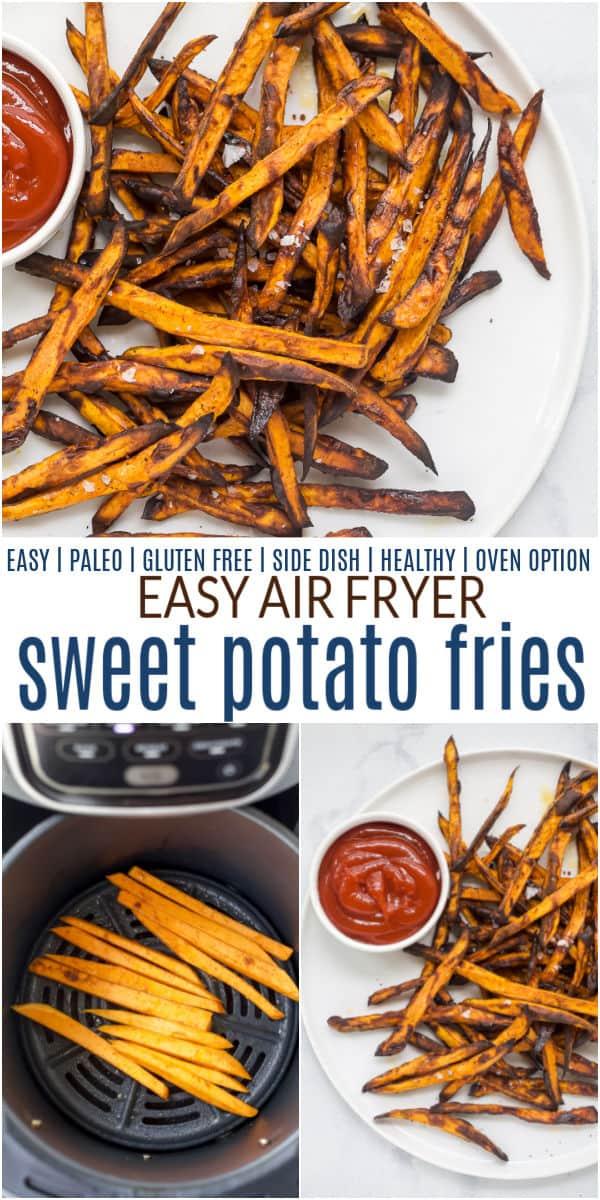 pinterest image for air fryer sweet potato fries