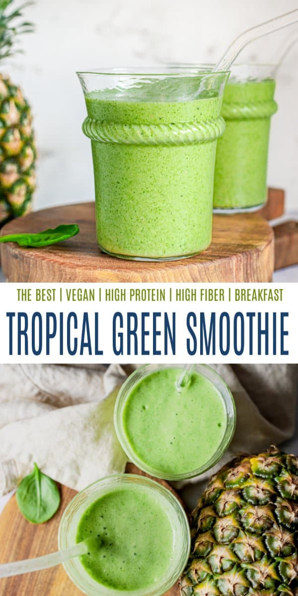 pinterest image for tropical green smoothie