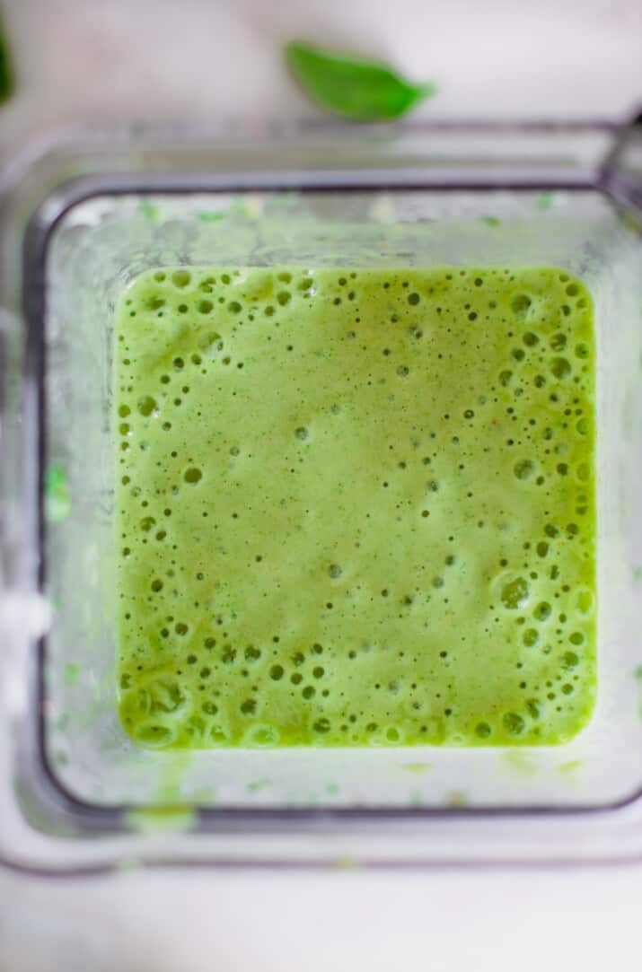 tropical green smoothie in a blnder
