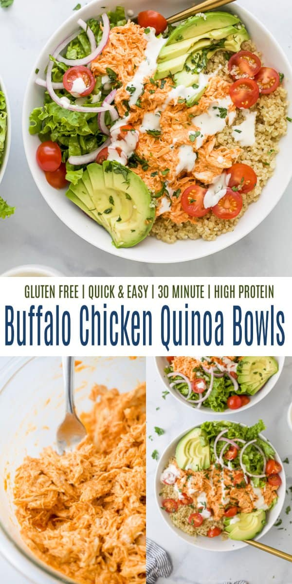 pinterest image for buffalo chicken quinoa bowls